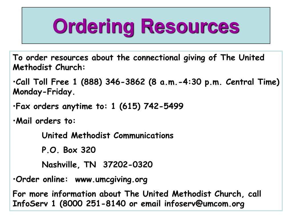 Ordering Resources