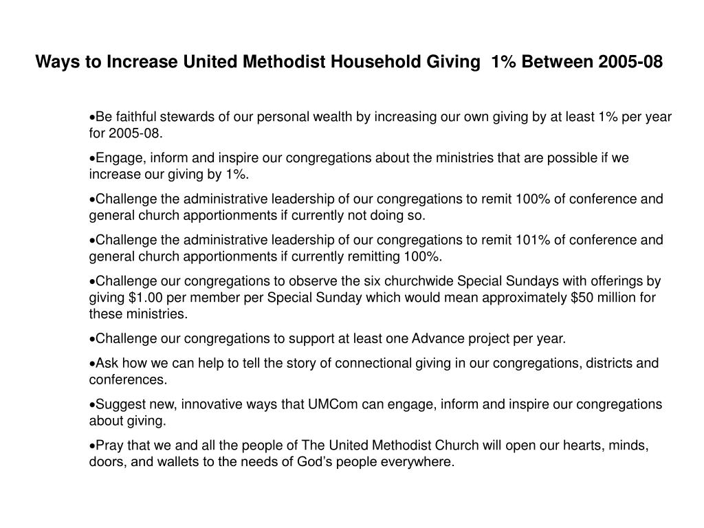 Ways to Increase United Methodist Household Giving  1% Between 2005-08