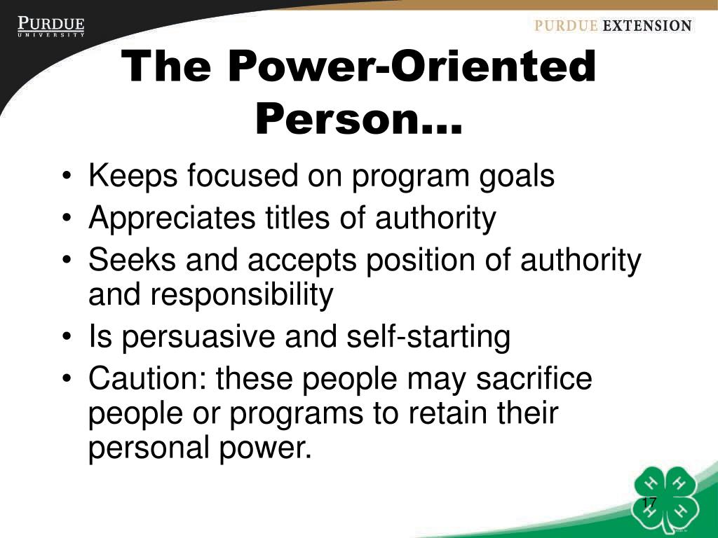The Power-Oriented Person…