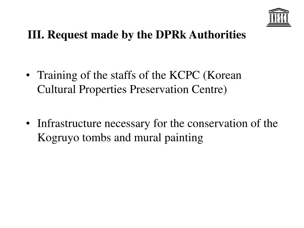 III. Request made by the DPRk Authorities