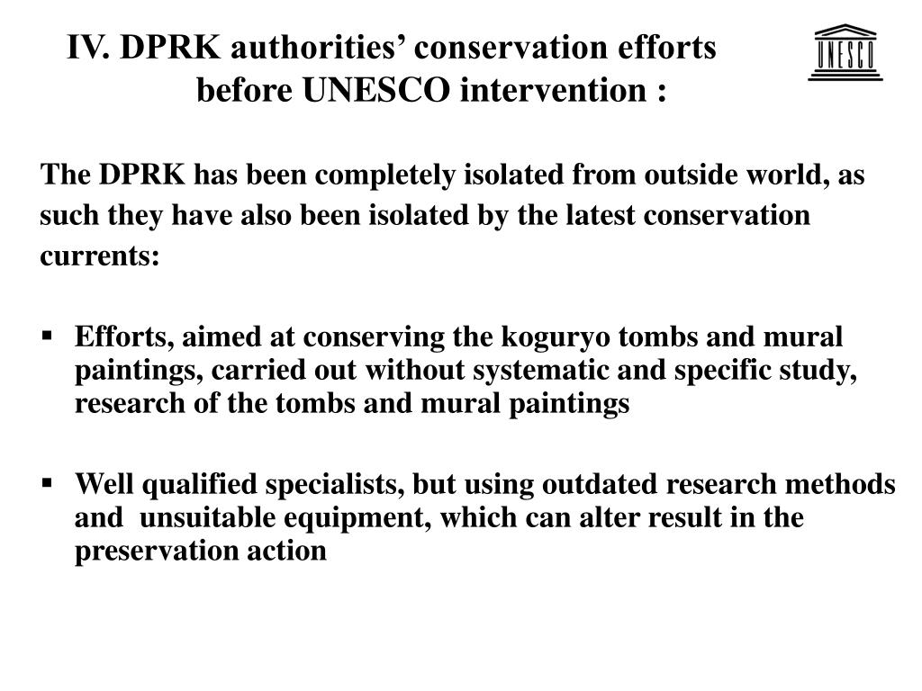 IV. DPRK authorities' conservation efforts