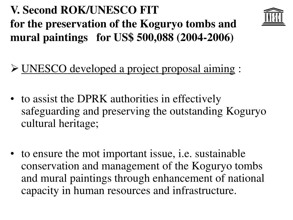 UNESCO developed a project proposal aiming