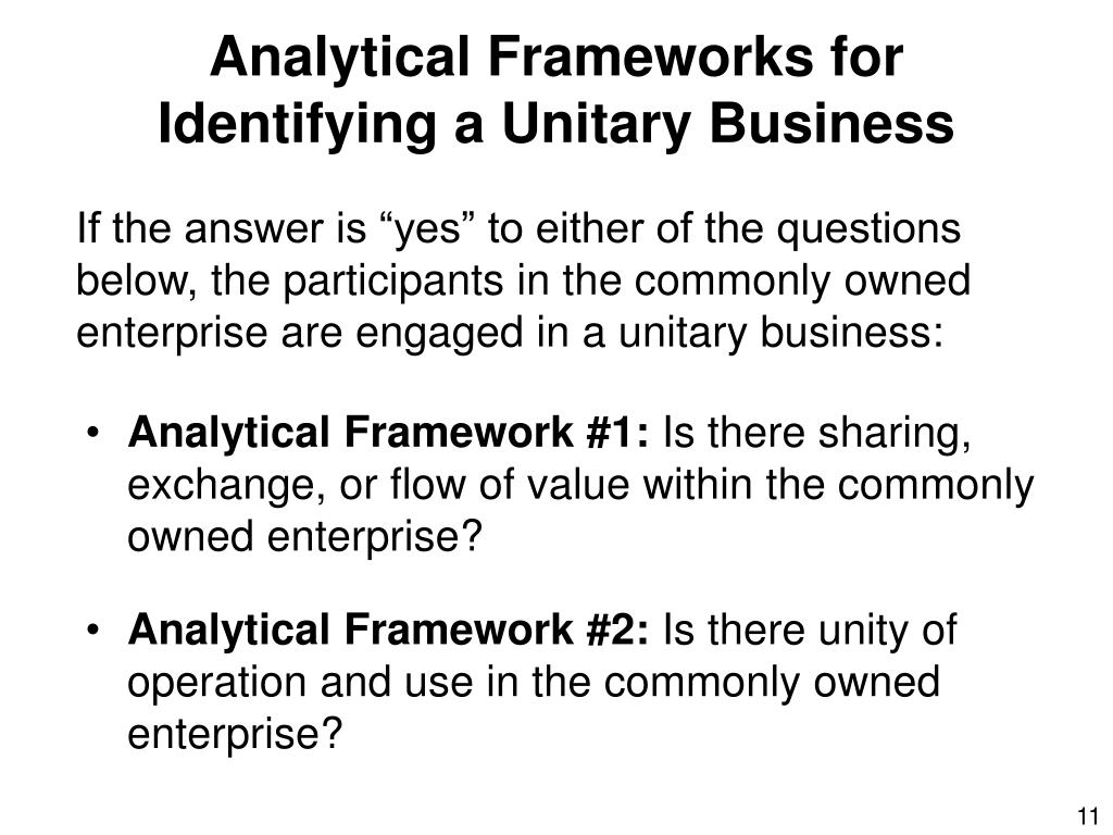 Analytical Frameworks for Identifying a Unitary Business