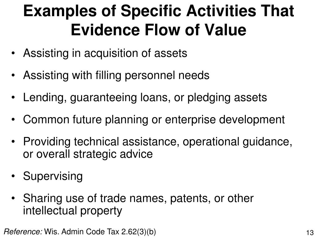 Examples of Specific Activities That Evidence Flow of Value