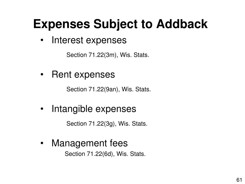 Expenses Subject to Addback