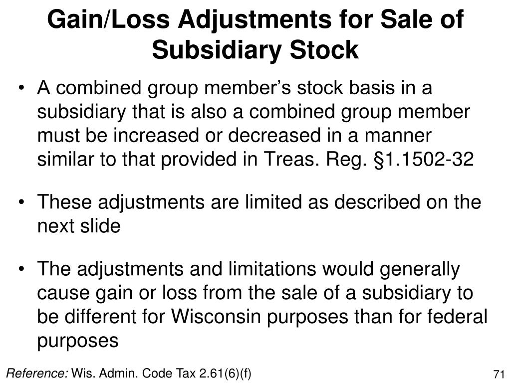 Gain/Loss Adjustments for Sale of Subsidiary Stock