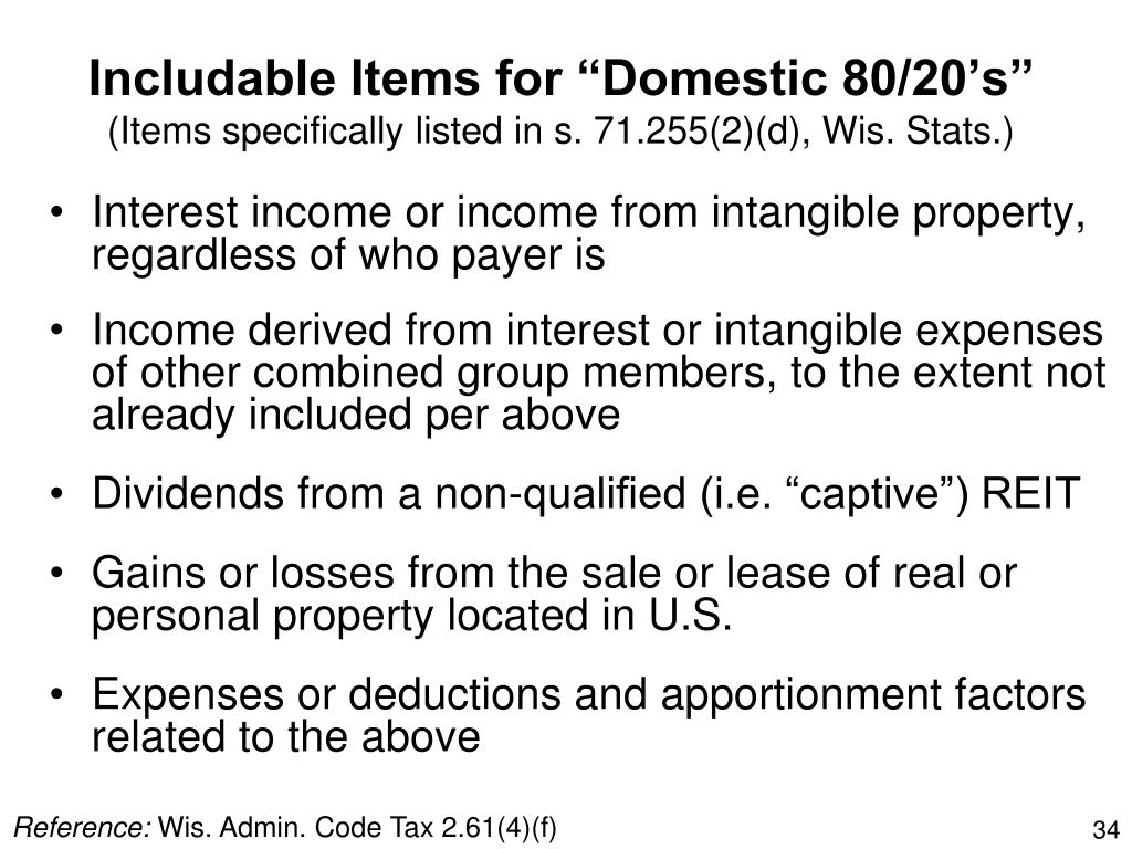 "Includable Items for ""Domestic 80/20's"""