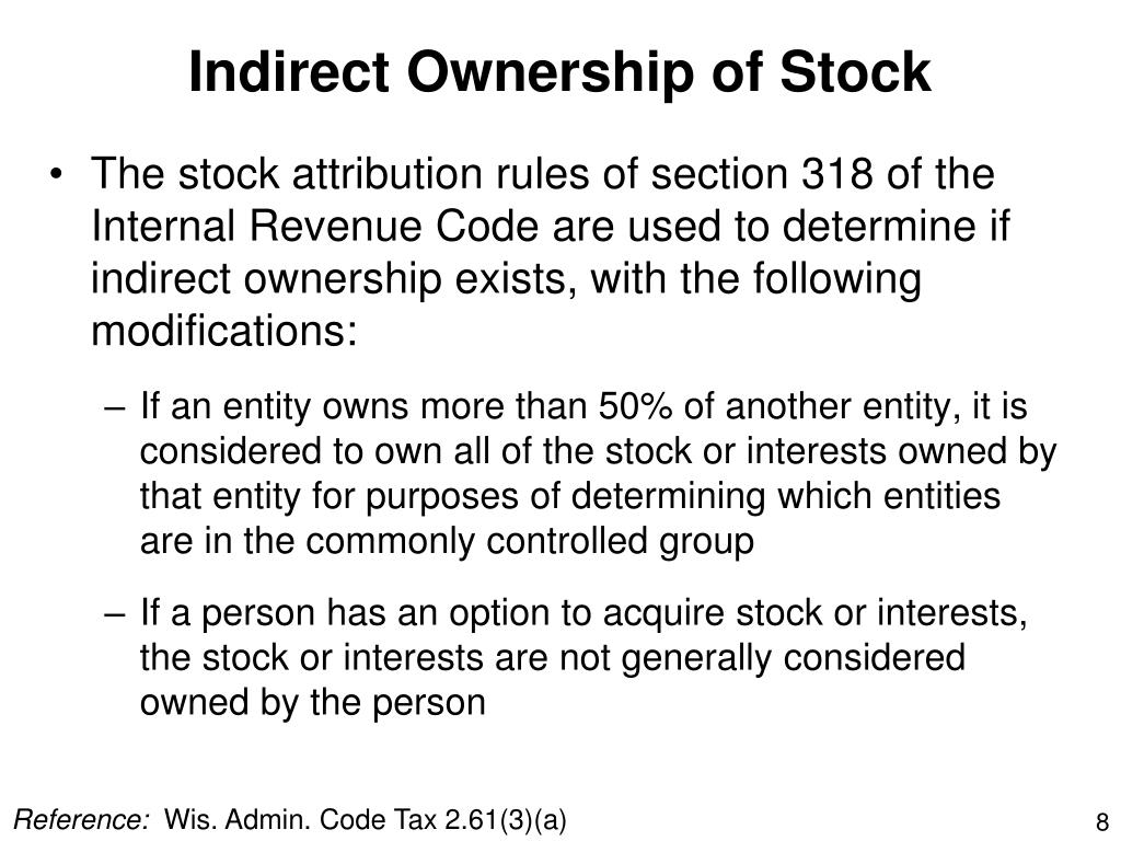 Indirect Ownership of Stock