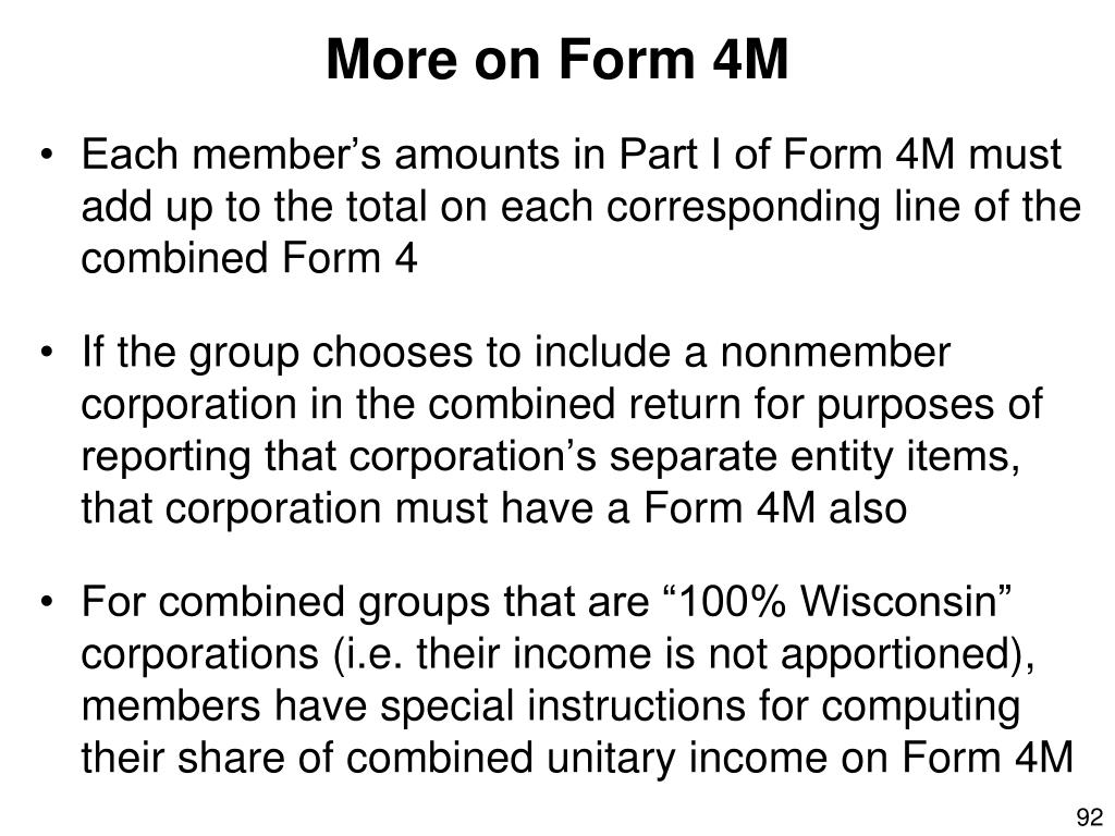 More on Form 4M
