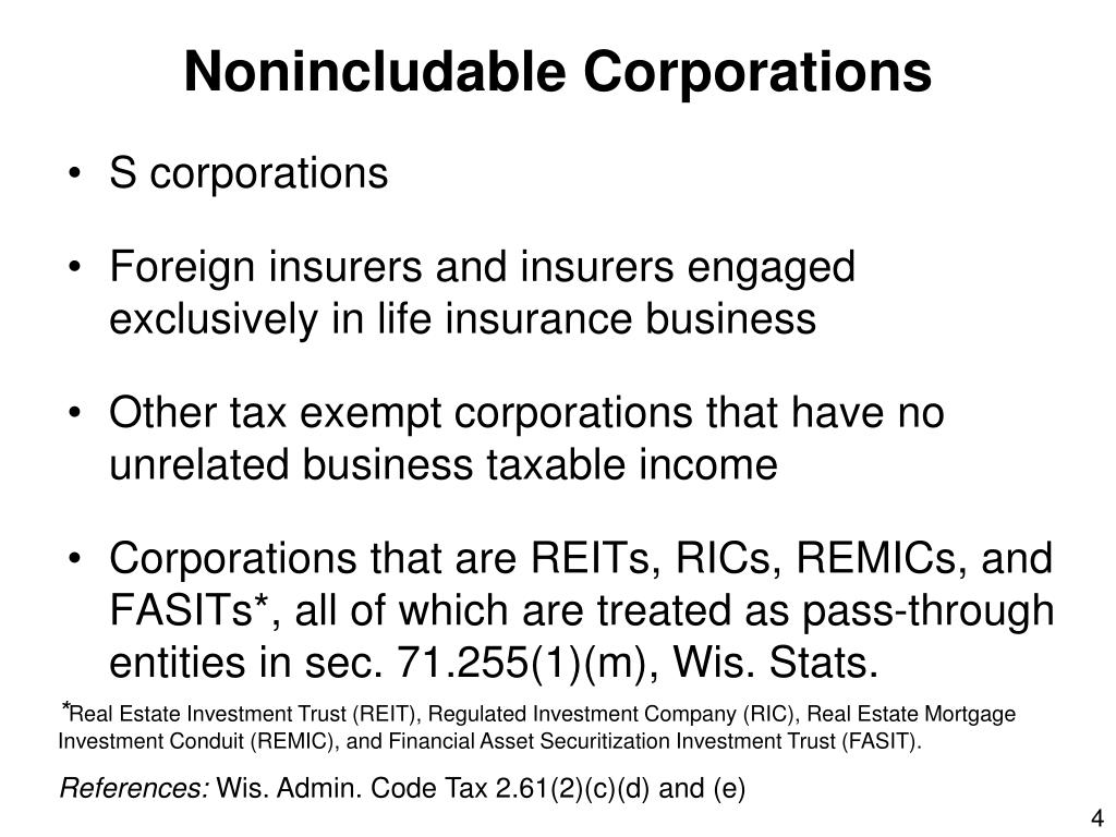 Nonincludable Corporations
