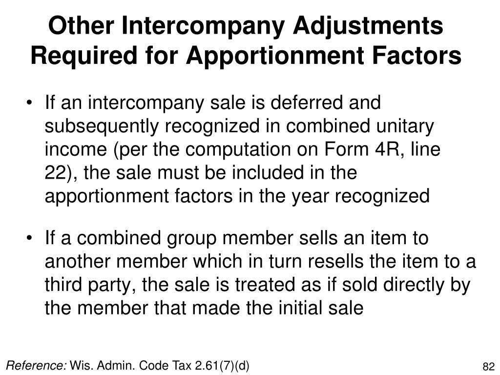Other Intercompany Adjustments Required for Apportionment Factors