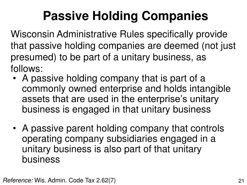 Passive Holding Companies