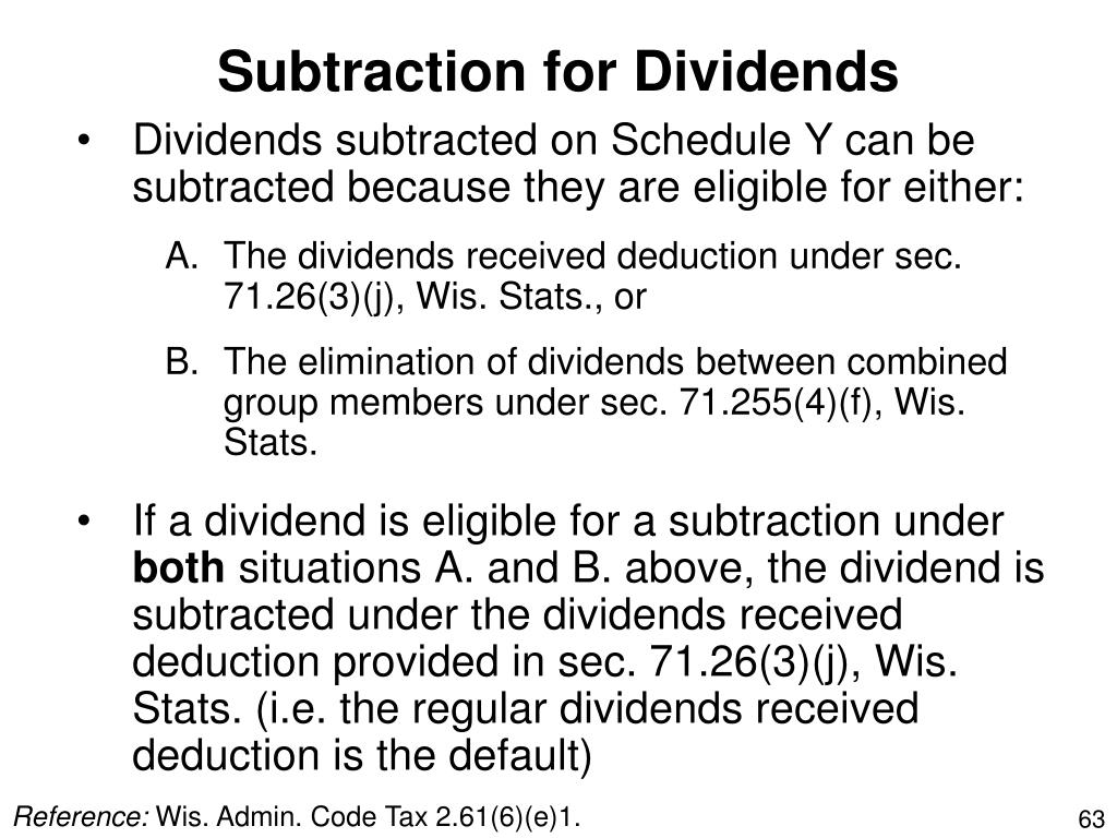 Subtraction for Dividends