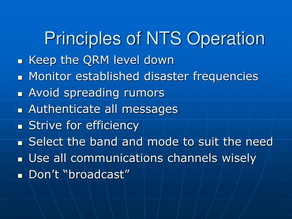 Principles of NTS Operation