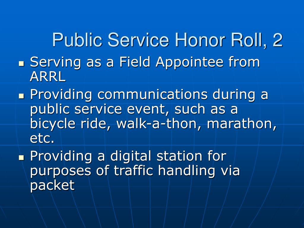 Public Service Honor Roll, 2