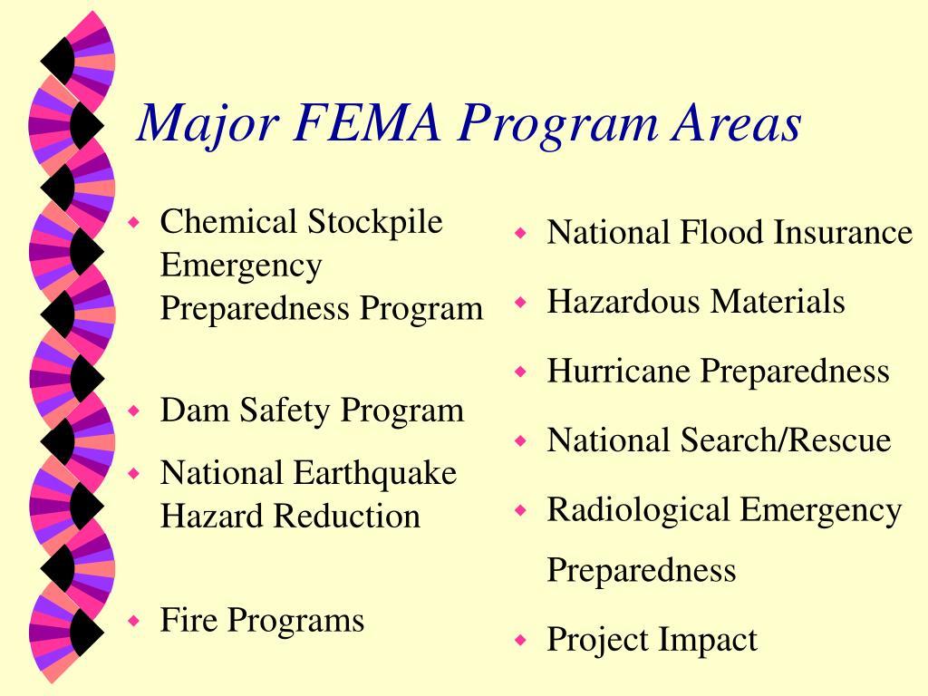 Major FEMA Program Areas