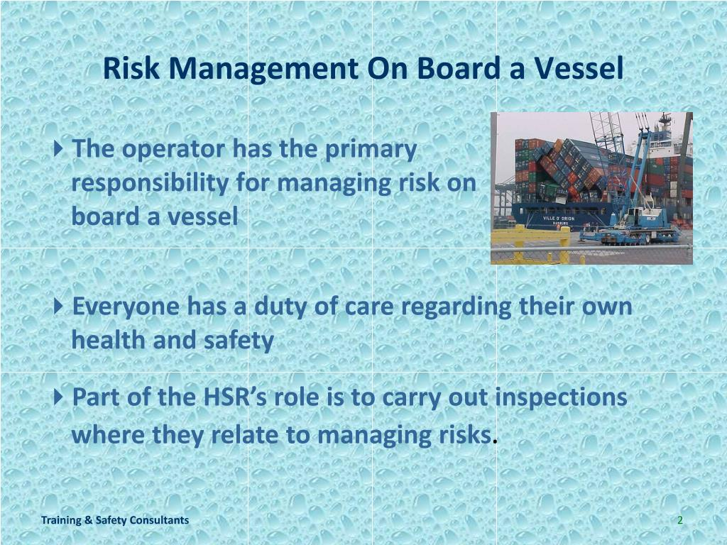 Risk Management On Board a Vessel