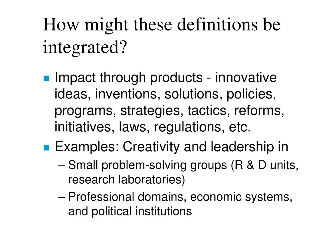 How might these definitions be integrated?