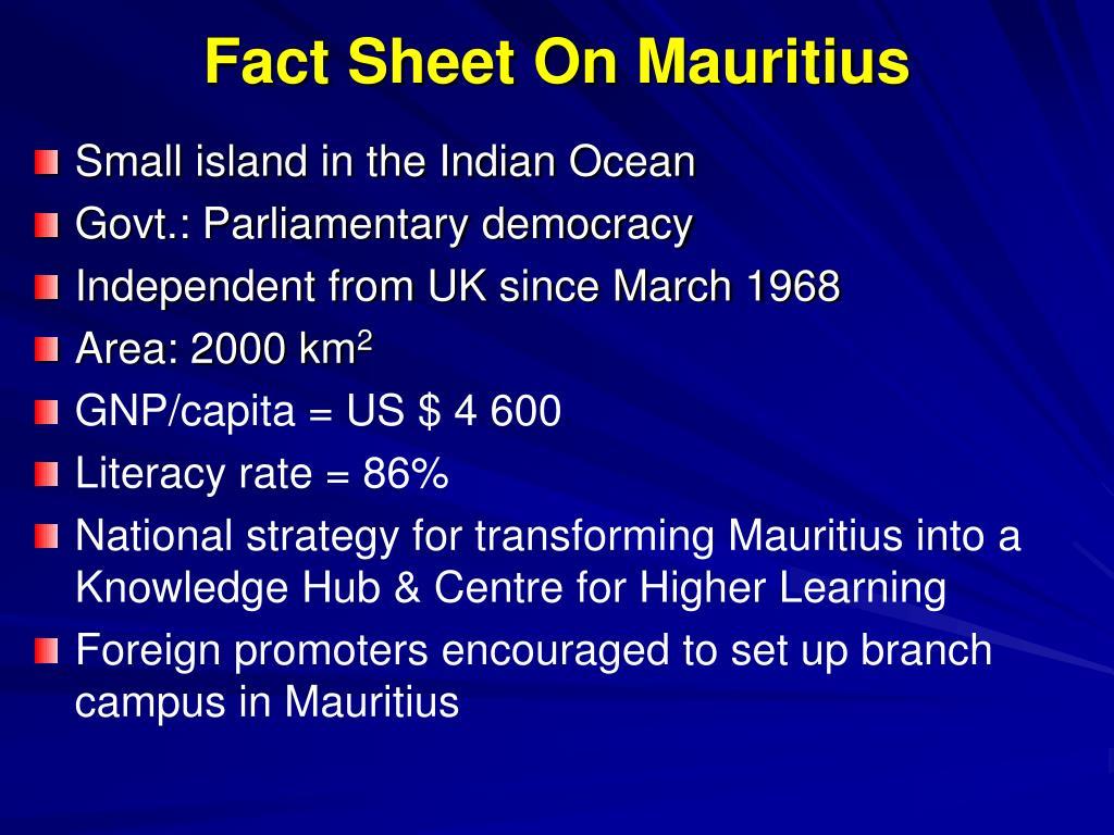 Fact Sheet On Mauritius