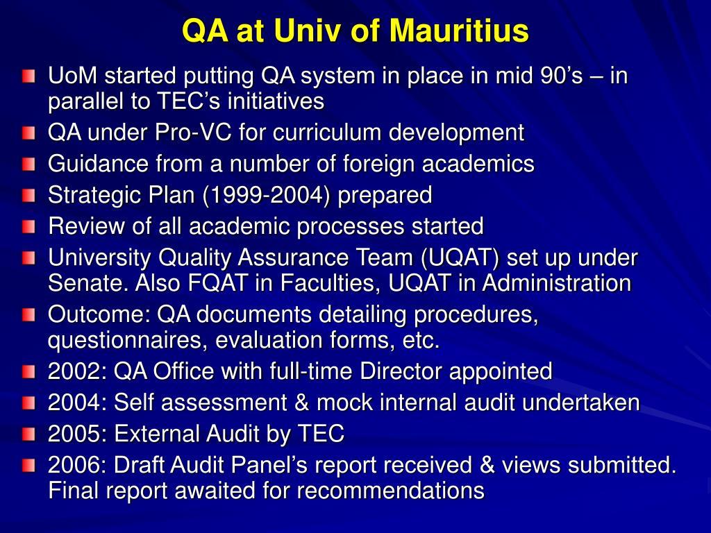 QA at Univ of Mauritius