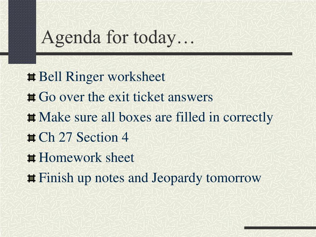 Agenda for today…