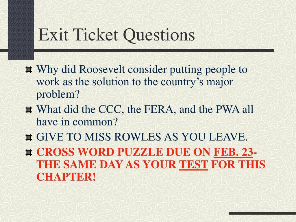Exit Ticket Questions