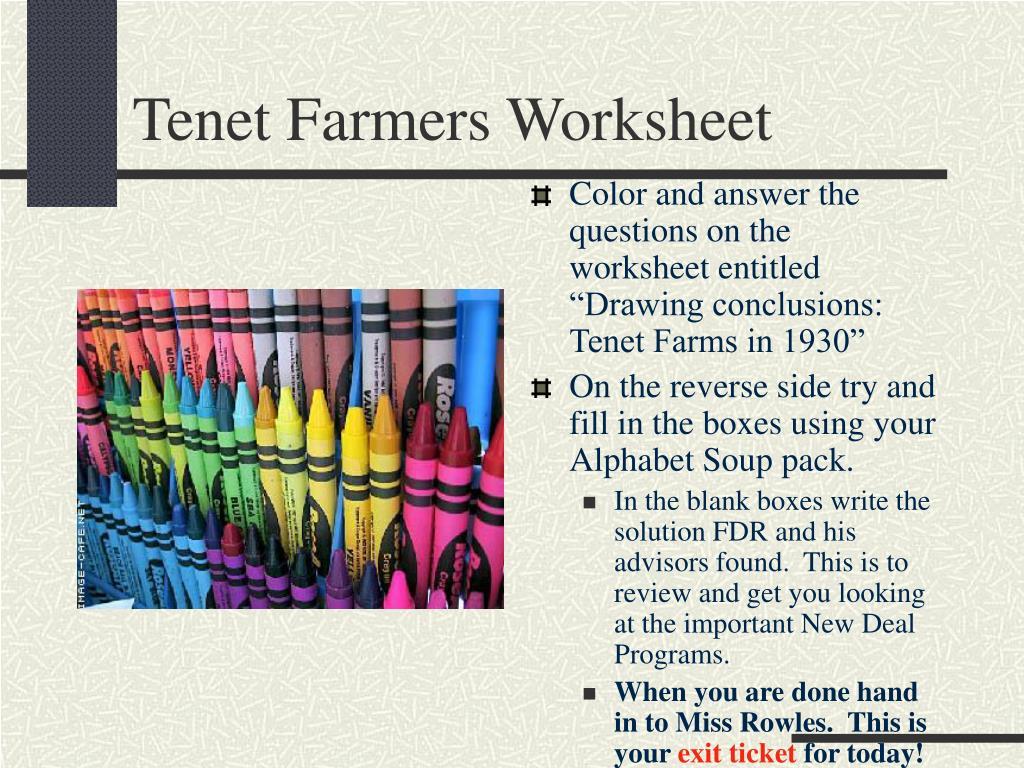 Tenet Farmers Worksheet