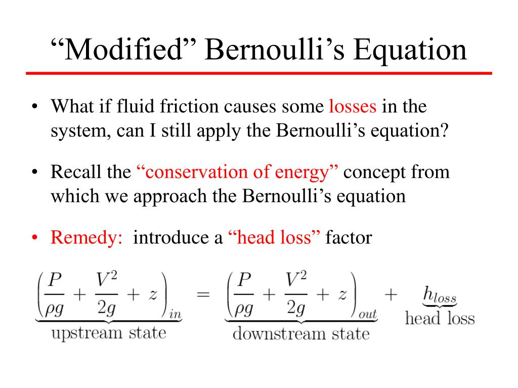 """Modified"" Bernoulli's Equation"