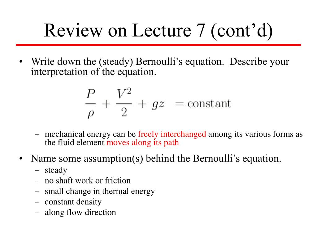 Review on Lecture 7 (cont'd)