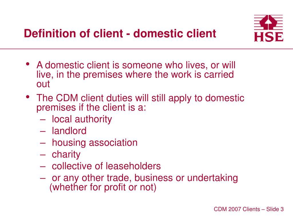 Definition of client - domestic client