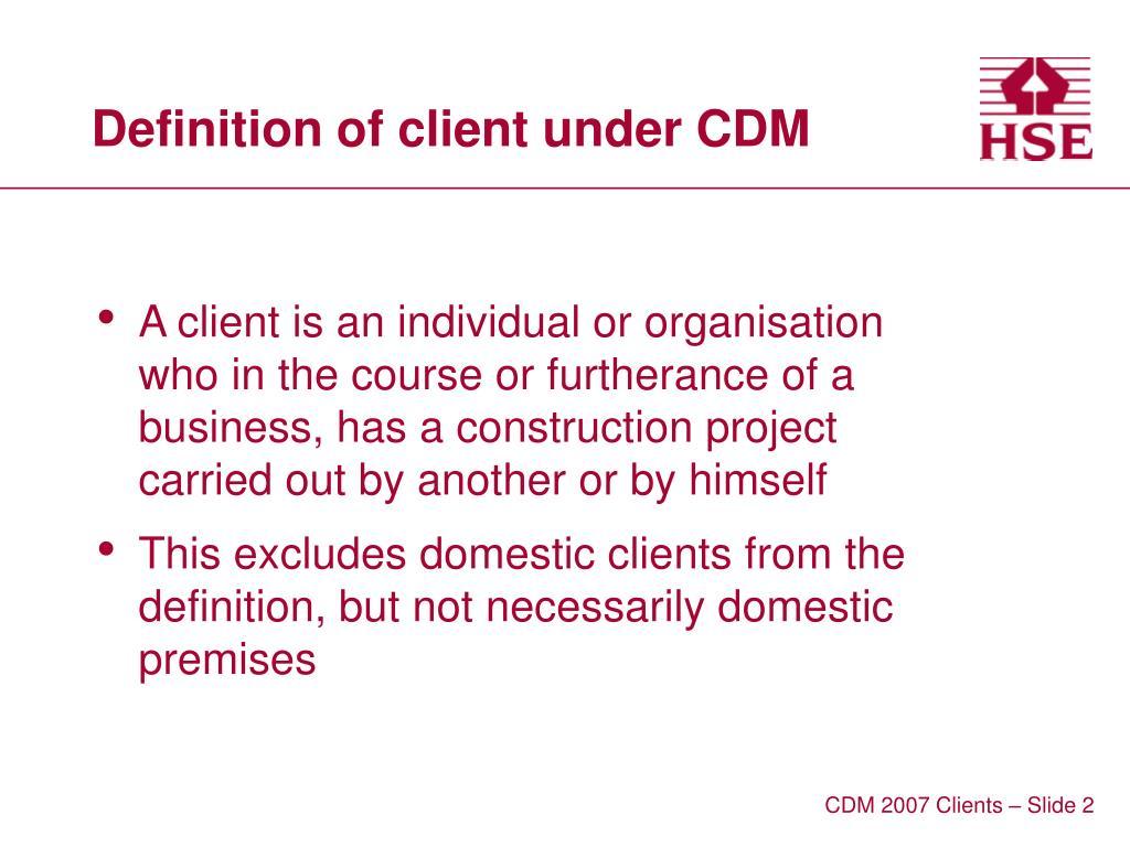 Definition of client under CDM