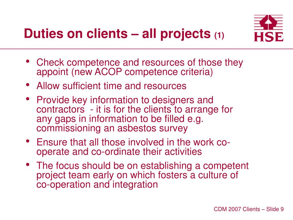Duties on clients – all projects