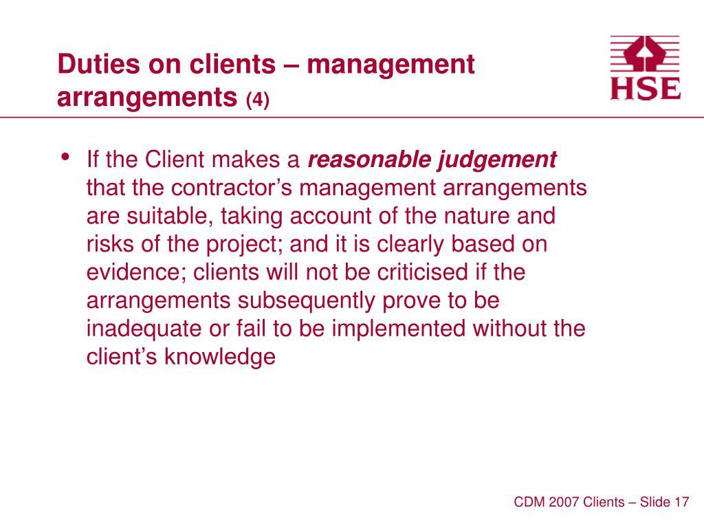Duties on clients – management arrangements