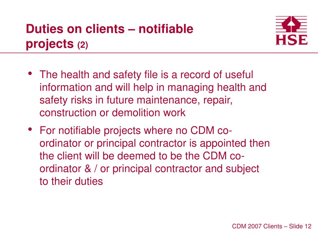 Duties on clients – notifiable