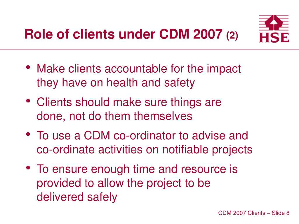 Role of clients under CDM 2007
