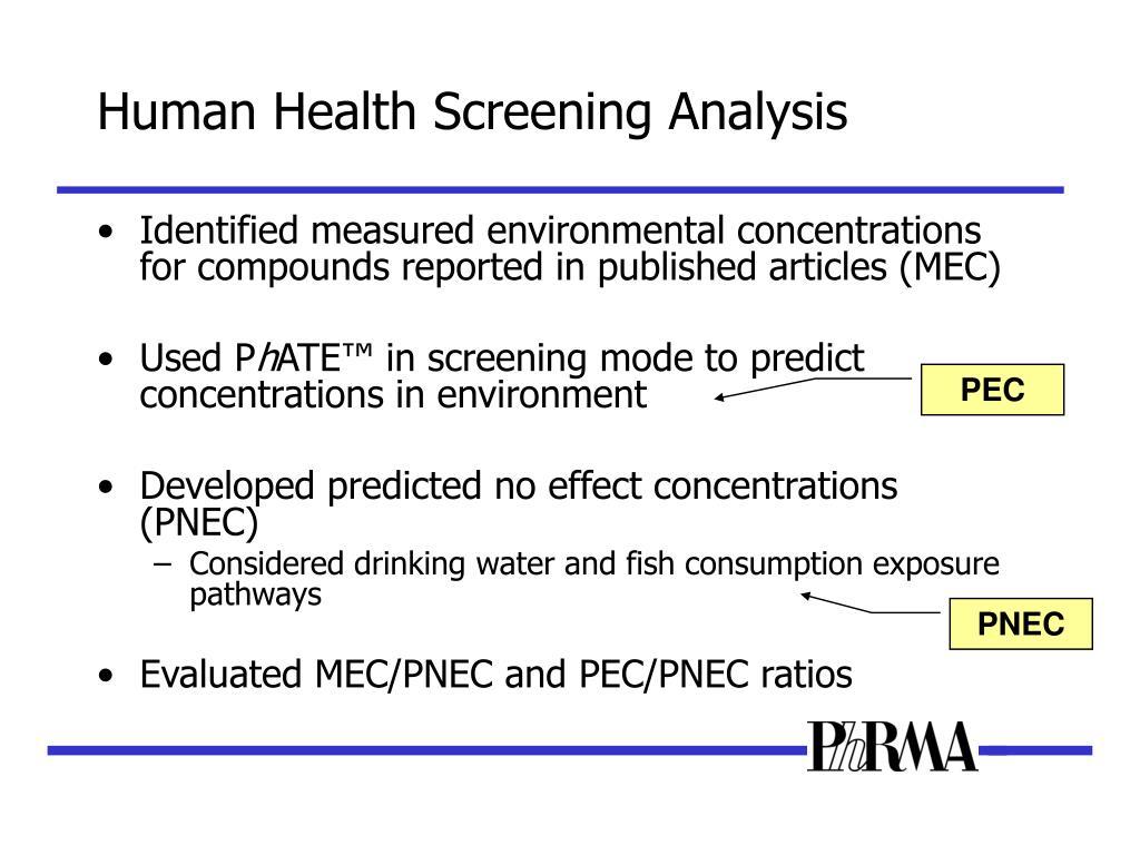Human Health Screening Analysis