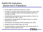 phrma pie publications recent and in preparation
