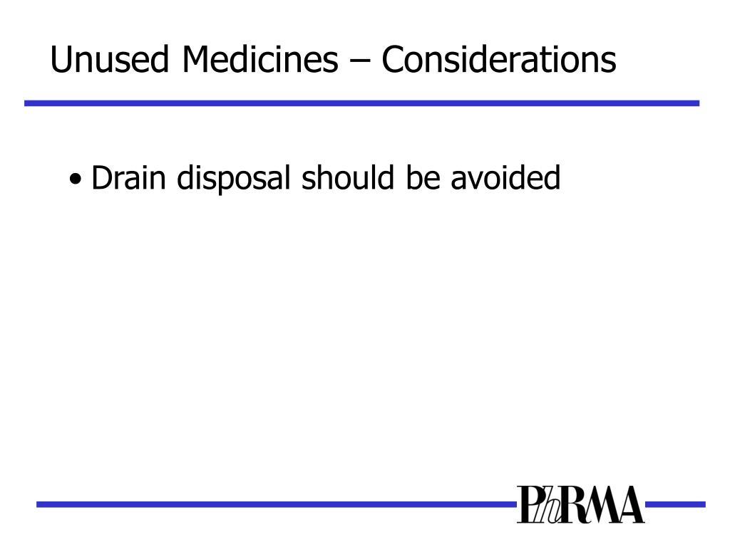 Unused Medicines – Considerations