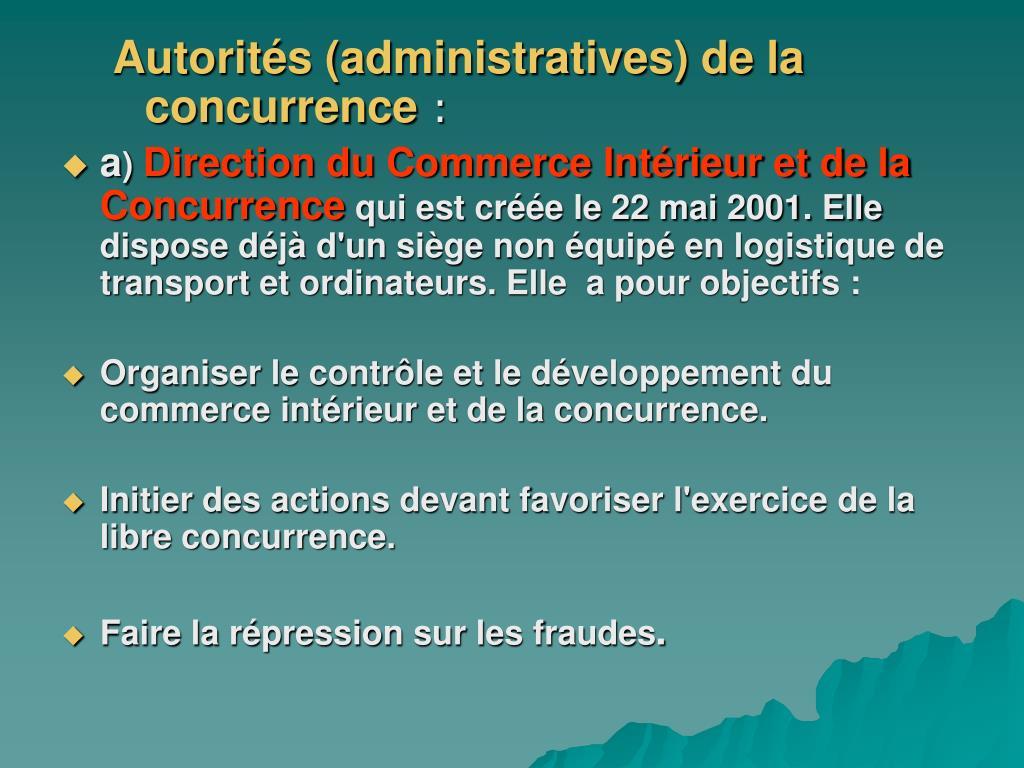 Autorités (administratives) de la concurrence