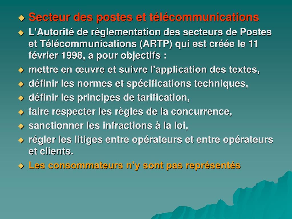 Secteur des postes et télécommunications