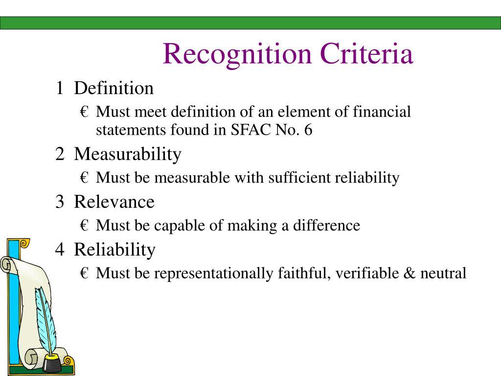 Recognition Criteria