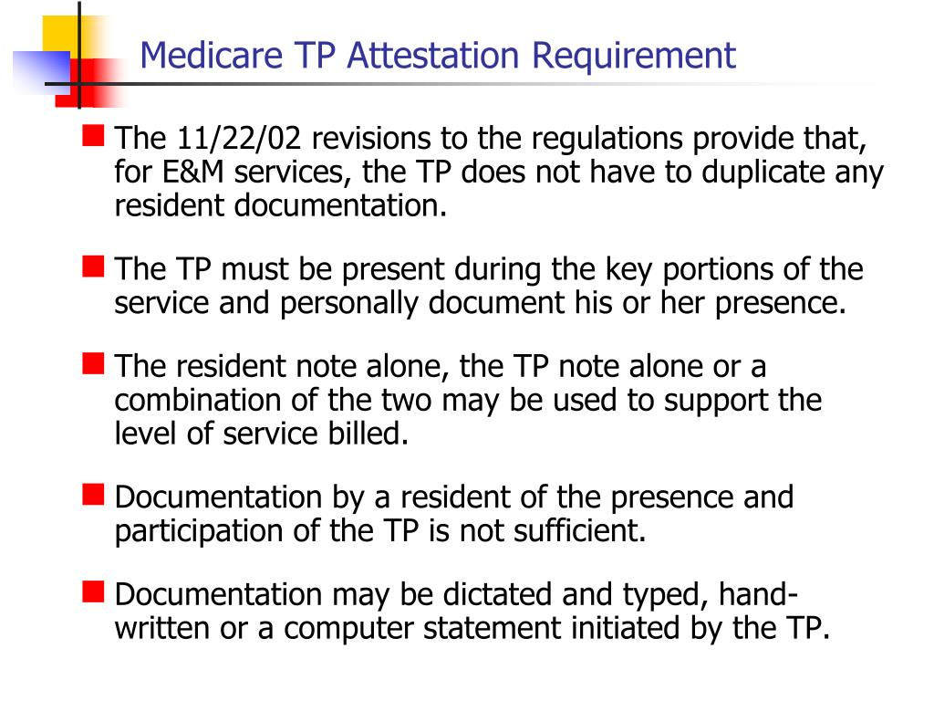 Medicare TP Attestation Requirement