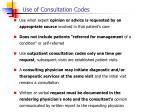 use of consultation codes
