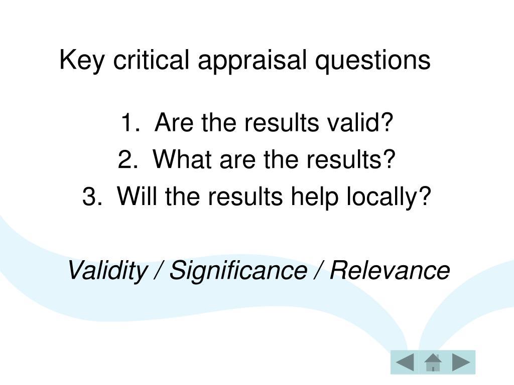 Key critical appraisal questions