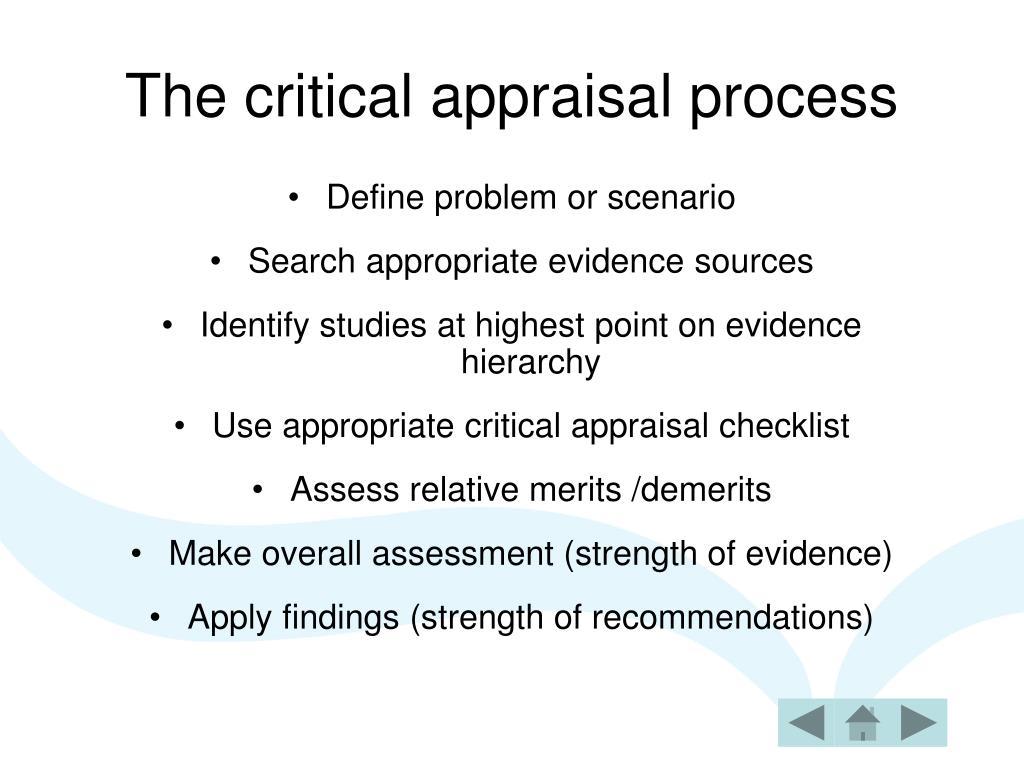 The critical appraisal process