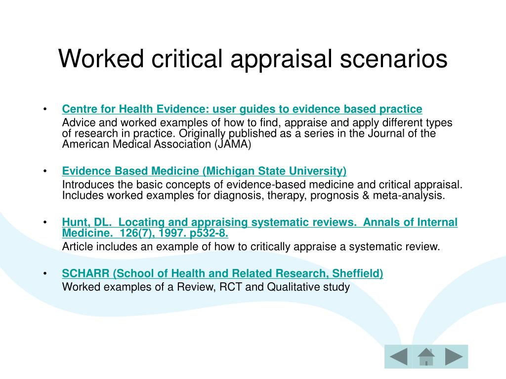 Worked critical appraisal scenarios