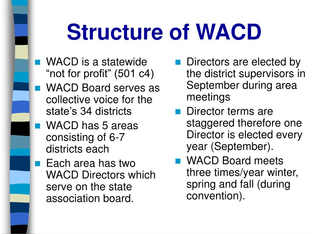 """WACD is a statewide """"not for profit"""" (501 c4)"""