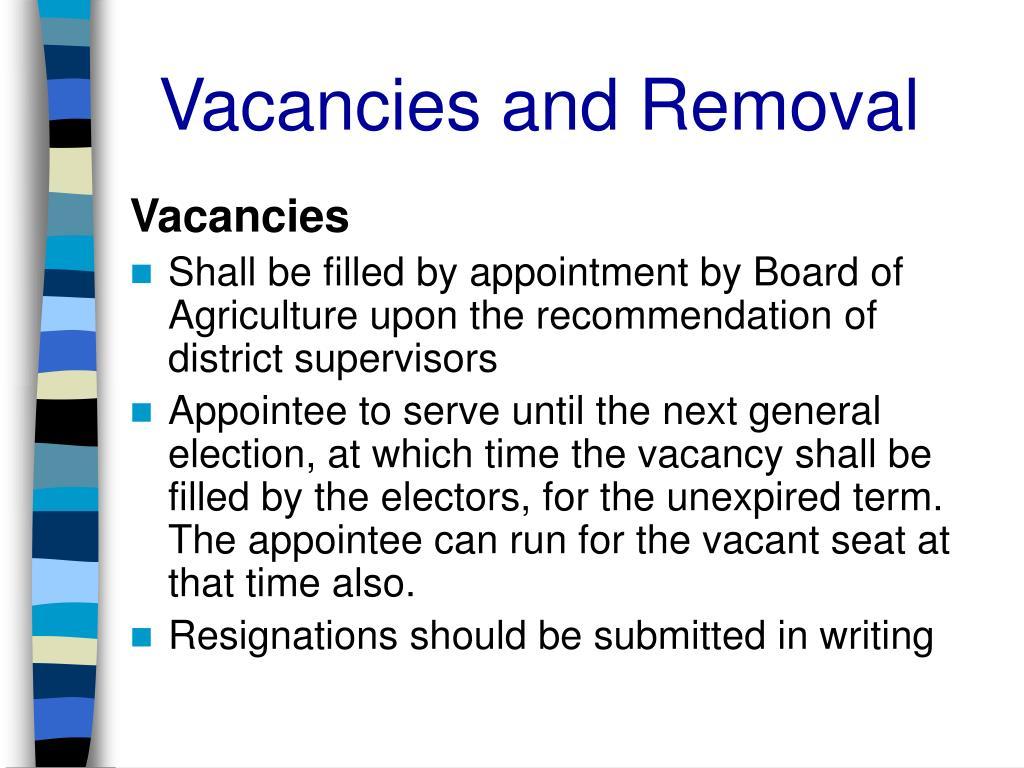 Vacancies and Removal
