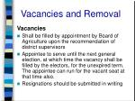 vacancies and removal