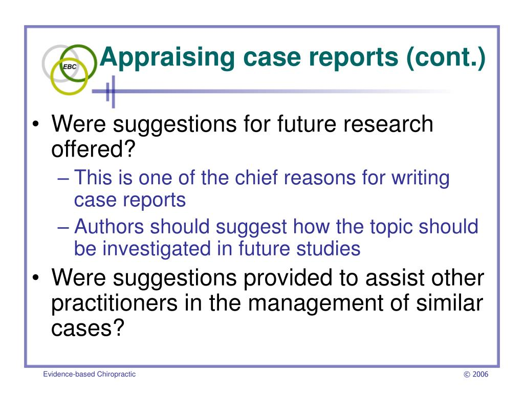 Appraising case reports (cont.)
